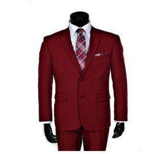Monaco Retro Paris, Modern Fit Poly Suit Burgundy